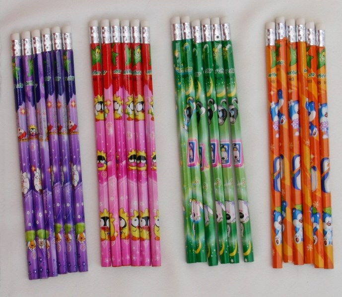 18.9cm top eraser heat transfer printing & Natural wood color & 1C printing HB writing pencils