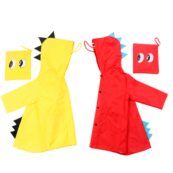 Outdoor Cartoon Fashion Cute 3D Little Dinosaur Children Waterproof Polyester PU raincoat for Kids Toddler Baby Kindergarten
