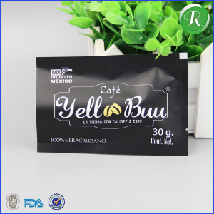 factory custom printed heat sealable aluminum foil sachet/matte black coffee bag