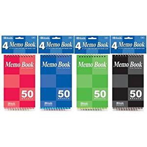 Bazic 50 Count 3 x 5 in. Top Bound Spiral Memo Books, Pack of 4