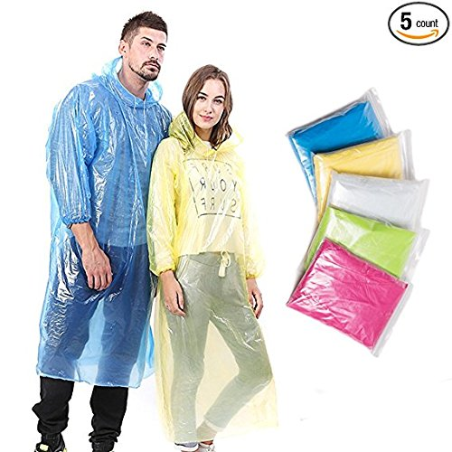 Emergency Disposable Rain Ponchos(5 Pack) - Portable Poncho with Drawstring Hood & Elastic Sleeve - Outdoors 100% Waterproof Rain Coat for Family Women Men Adults Teens & Kids,One Size Fits All