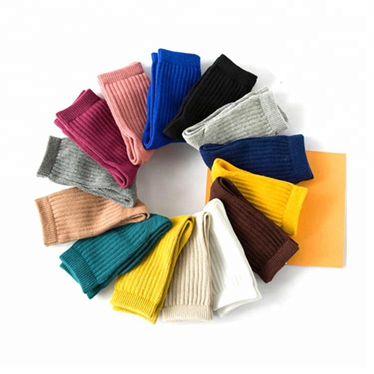165312ba6 2019 Winter Candy Color Stripe Cotton Kids Crew Children baby girls Tube  Socks