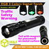 Aluminum Chinese 3Watt RGB LED Signal Railway Torch Magnetic Flashlight