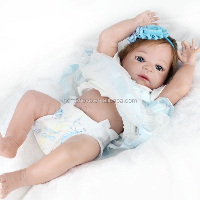 China Factory Wholesale Lifelike 22 Inch Full Silicone Reborn Baby Doll with Hair