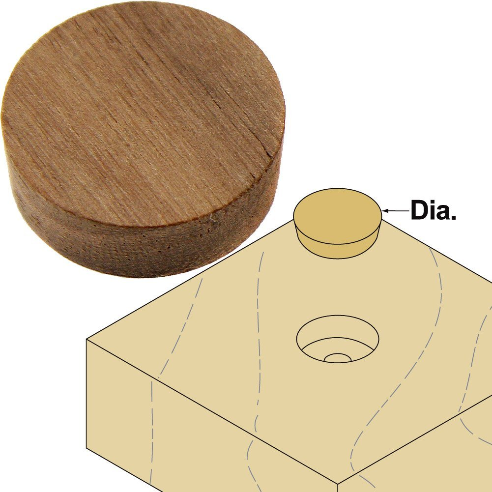 "Platte River 800036, Wood Specialties, Buttons & Plugs, 1/2"" Walnut Side Grain Plugs, 100-pack"