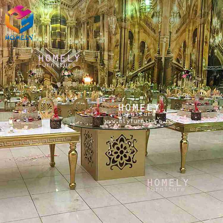 Foshan supplier Wedding ceremony design iron stainless steel  frame round led tables for events&wedding