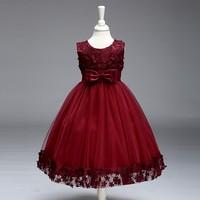 Elegant High Quality Bulk Chinese Girl Traditional Fancy Lace Kids Party Wedding Children Dress LL314