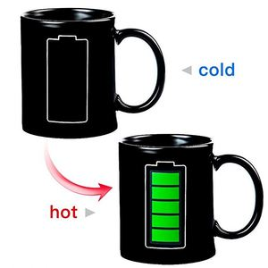 Zogift 2018 creative battery thermal discoloration cup/temperature preheating color changing mug/color ceramic mug