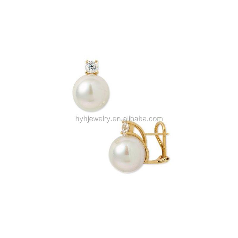 Best Ing Women Ear Clip Earrings Single Zircon Stone Flat Pearl Stud