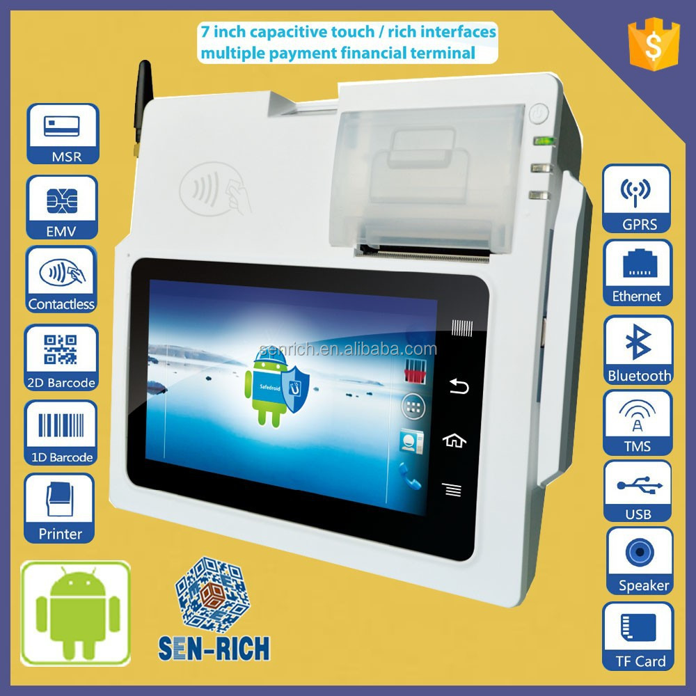 GPS 3G Tablet Android OS Restaurant and Shop POS Terminal with MSR,Payment Functions,Wireless,Thermal Printer,Camera