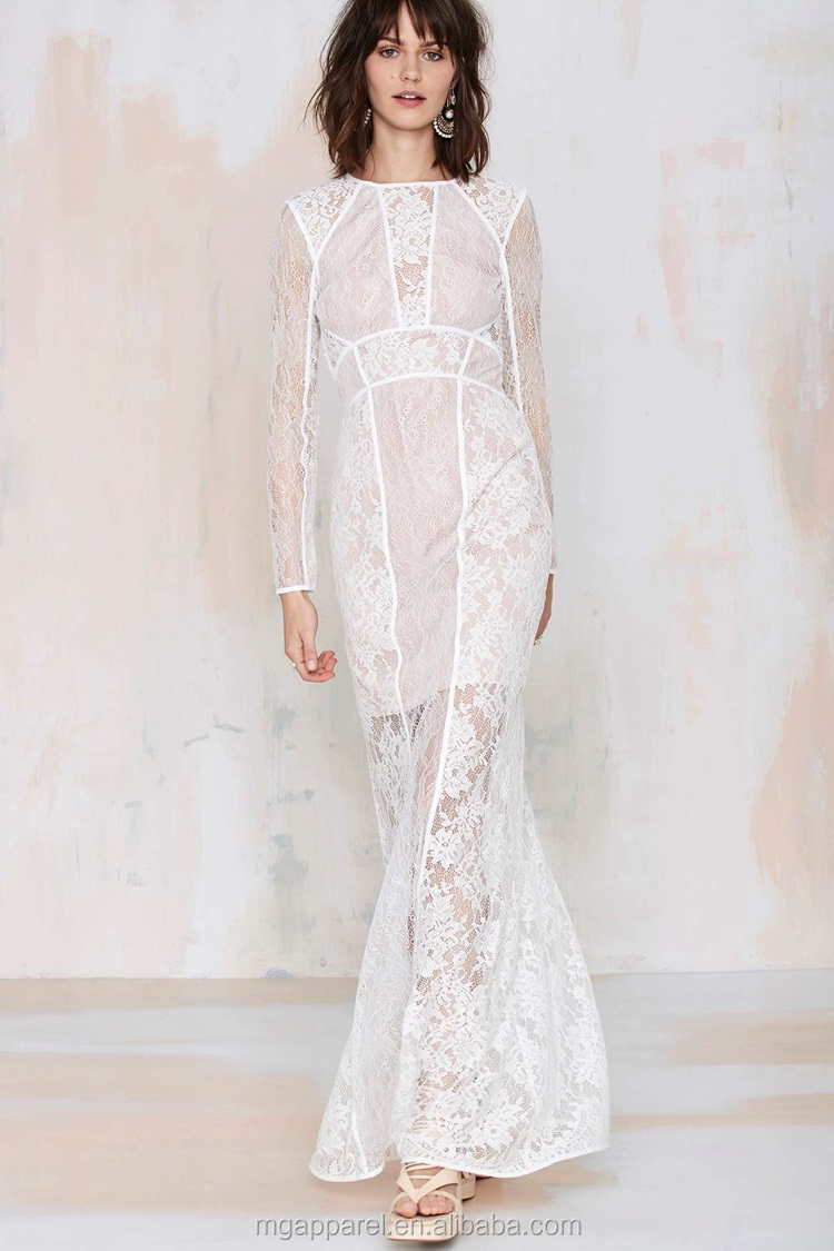 d789fad4e59d Hot Selling Women Fashion Dress Women Loose Long Sleeve Maxi Dress White  Lace Evening Dress