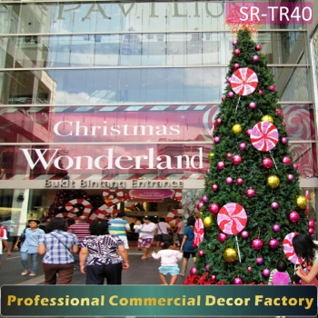 customize 20ft 30ft 40ft 50ft shopping mall giant outdoor christmas tree with lollipop decoration - Giant Outdoor Christmas Decorations