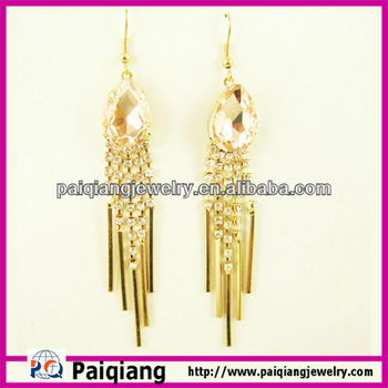 New Design Online Artificial Jewellery Gold Plating Crystal Tel Earring Tops Designs