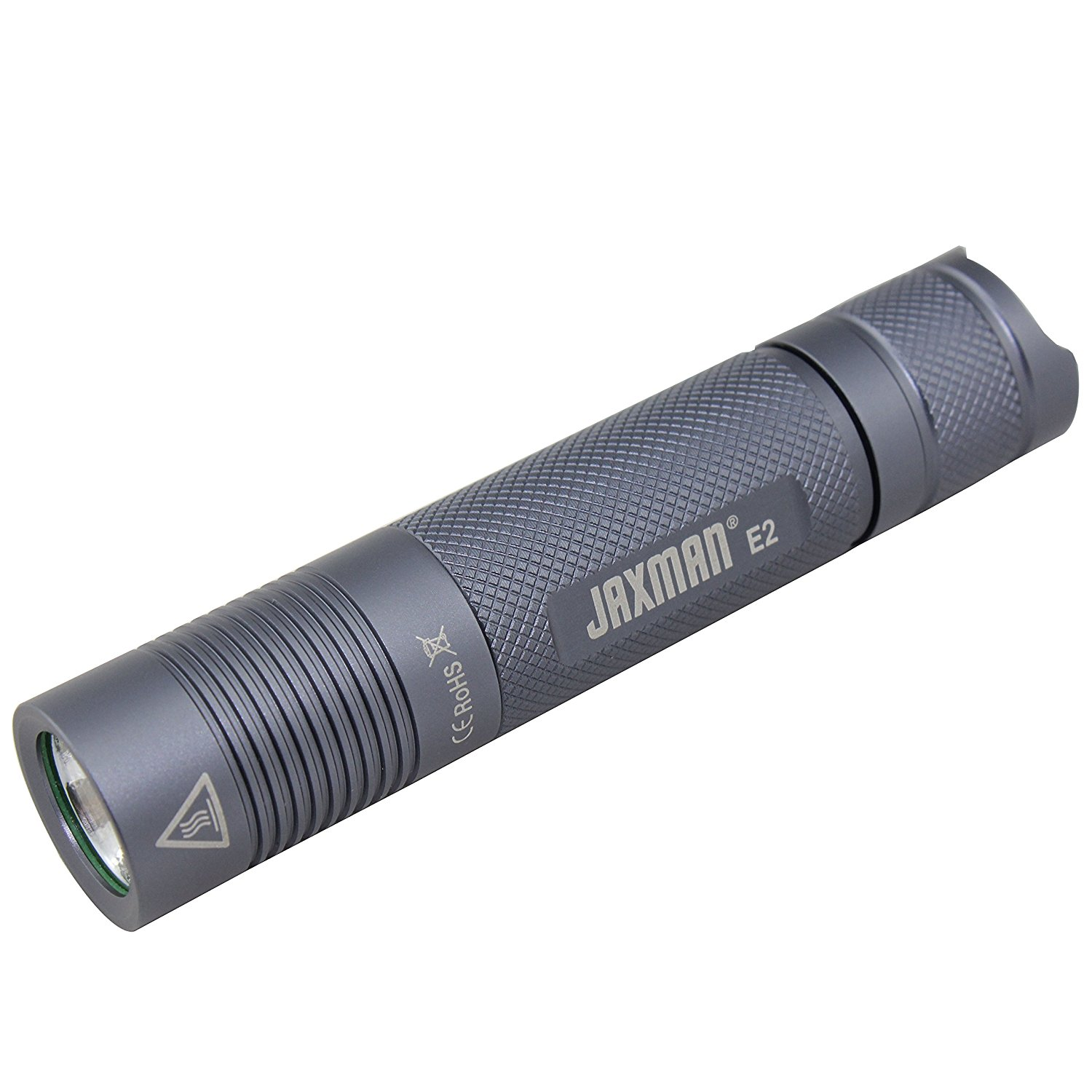 JAXMAN E2 18650 EDC LED flashlight Pocket-Sized LED Torch, Super Bright 580 Lumens,IPX-6, 5 Modes for Indoors and Outdoors( without battery) (XML2 Cool White/Color Temperature 6000-6500k)