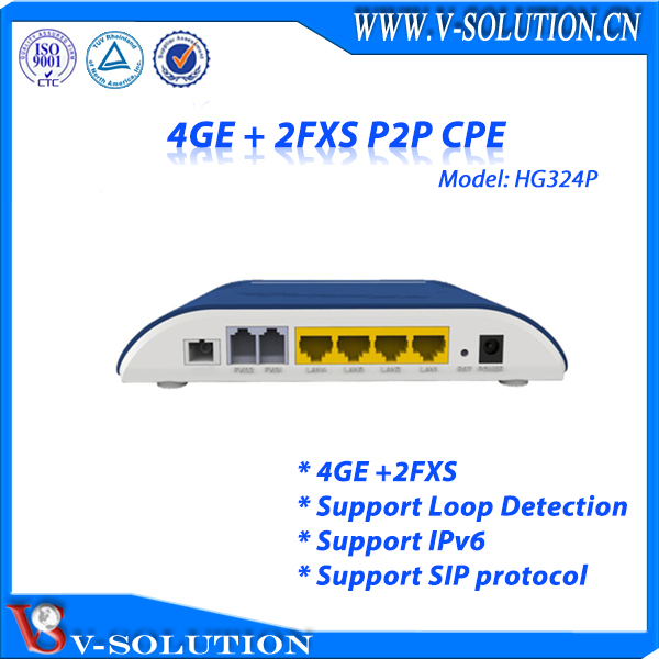 4GE Internet Data +2POTS Voice VoIP Ports P2P CPE with Gigabit Device Network Solution