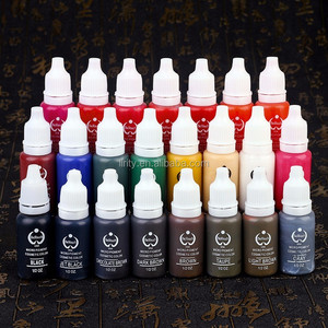 Tattoo ink set 23 colors permanent makeup micro pigment 1/2 OZ per bottle for eyebrow lips eyeliner body art free ink cups