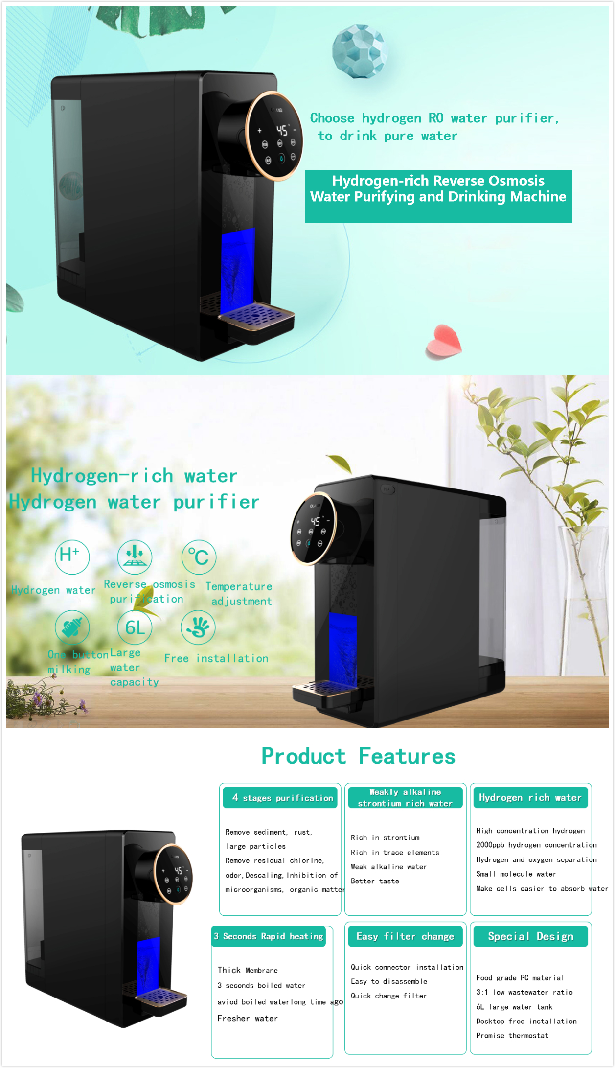 Free installation hydrogen rich water purifier with RO system for house