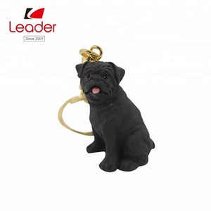 Personalized Polyresin Promotional Gifts Black BullDog Figurine 3D Personalized Keychain