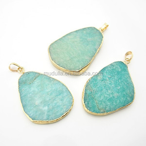 C150122003 Amazonite Gemstone Pendant with 24K Gold Plated Edge