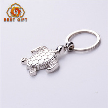 Hot sale 3d custom sea turtle shaped silver color keychain turtle metal keyring