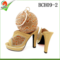 BCH09 Queency Unique Design African Nigerian Women Gold High Heel Shoes And Bag Match in Italy