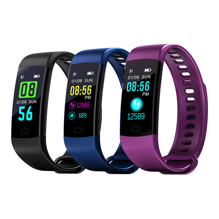a6d3a0379f91 Pantalla a Color Banda inteligente rastreador de fitness impermeable  mensaje empujar reloj inteligente Bluetooth banda