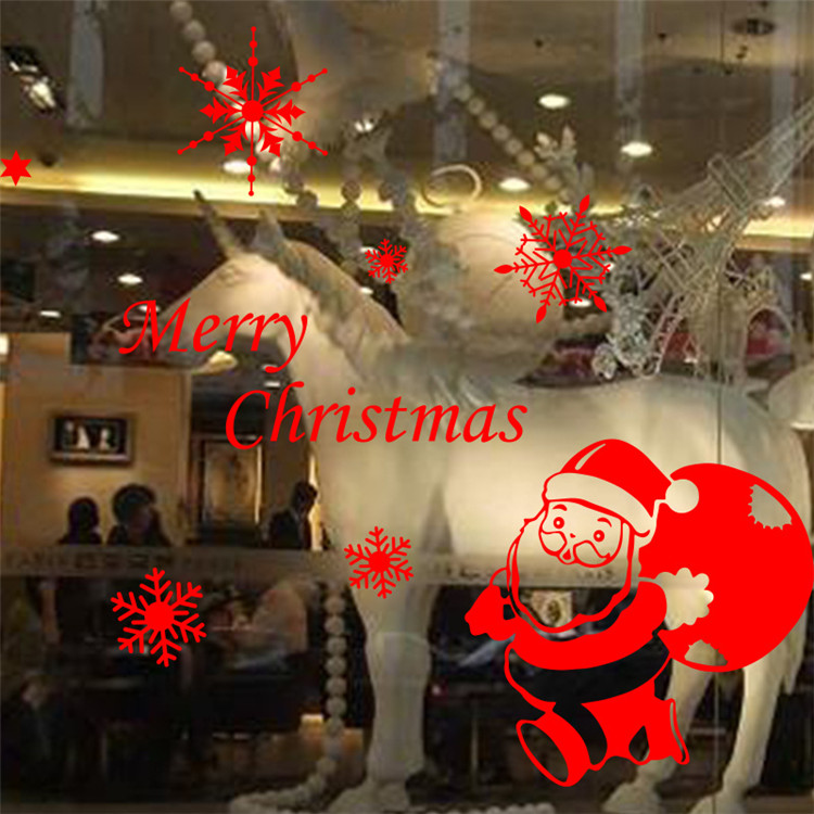 Christmas festival decoration shop home party decor merry Christmas santa claus window Wall glass Sticker pvc removable decals