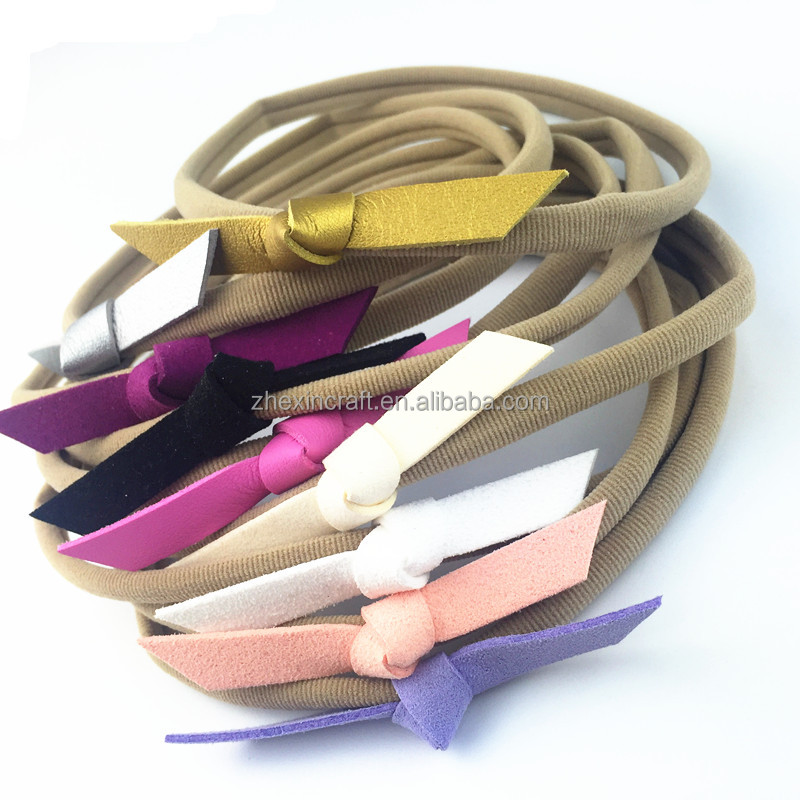 New arrival hot sale high quality mix color nude Color Stretchy Nylon Elastic <strong>Headbands</strong> with seuded bow