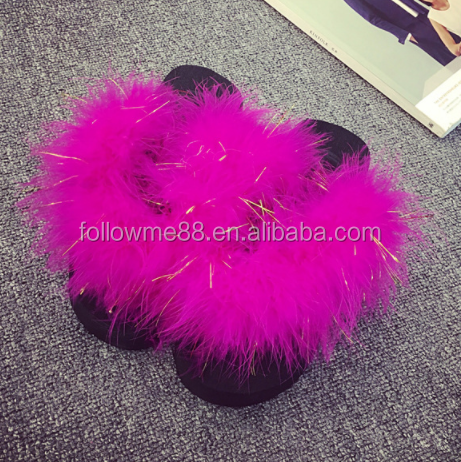 home plush slippers shoes thickening sponge with ostrich hair thong slippers female flip-flops slippers