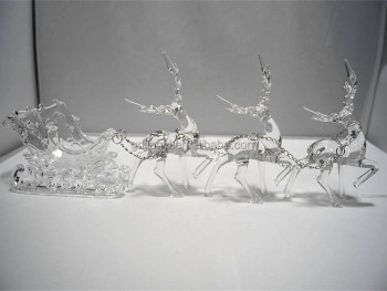 2016 hot sale three acrylic reindeer and sleigh christmas decoration