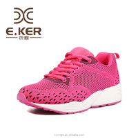 2017 hot sale custom logo knitting sport running shoes with EVA shoe sole and polyster and rubber upper