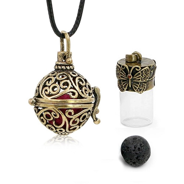 Fashion Jewellery 절묘한 Antique Bronze 선조 로켓 (gorilla Glass) 병 Oil Diffuser Necklace 대 한/아로마 양초