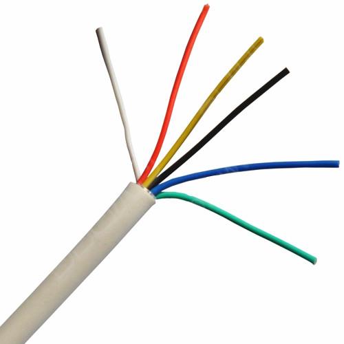 color blanco. PVC Cable de alarma de 6 n/úcleos