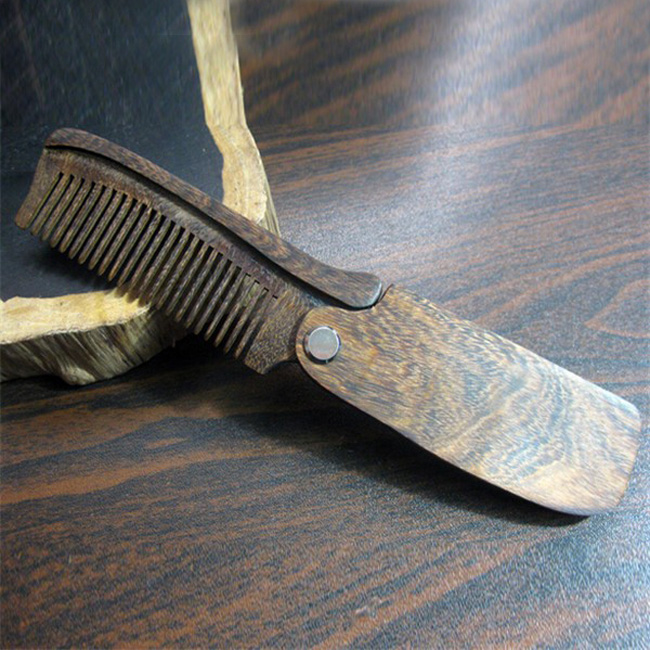 Adult men's tool home custom lice wooden folding hair beard comb