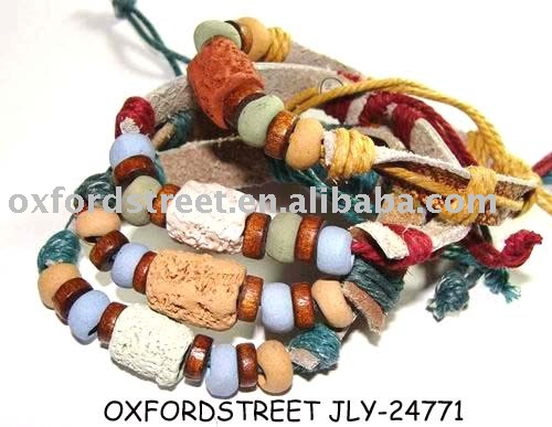 colorful brown serious leather bracelet