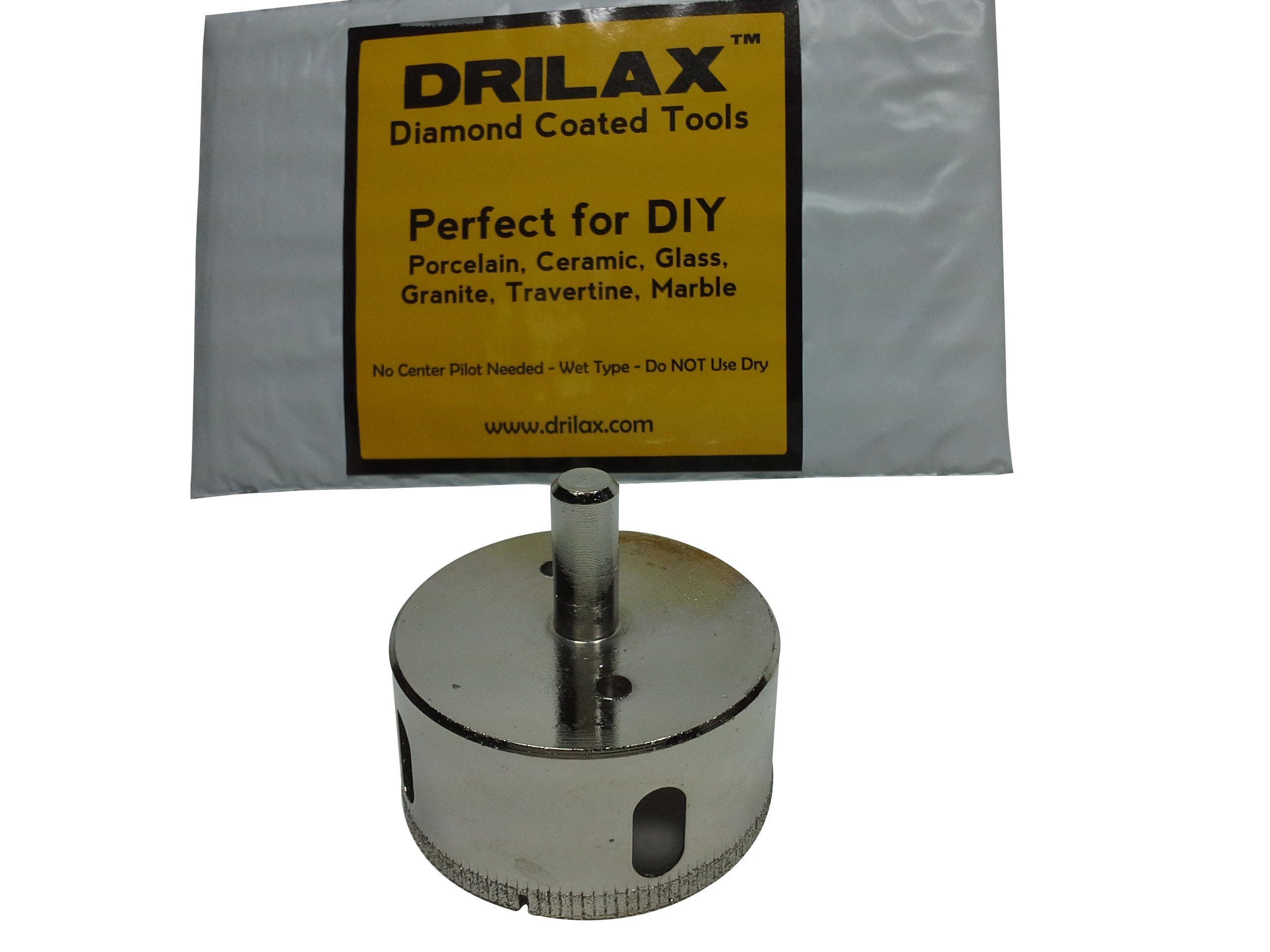 """Drilax 2 3/8 Inch Diamond Hole Saw Drill Bit Tiles, Glass, Fish Tanks, Marble, Granite Countertop, Ceramic, Porcelain, Coated Core Bits Holesaw DIY Kitchen, Bathroom, Shower, Faucet Installation Size 2 3/8"""""""