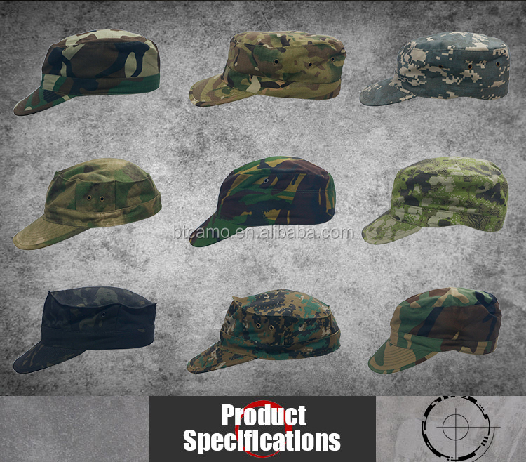 Zes panel custom logo militaire hoed caps top hoed