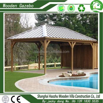 Portable Sun Shelter Wooden Gazebo Beach Tent