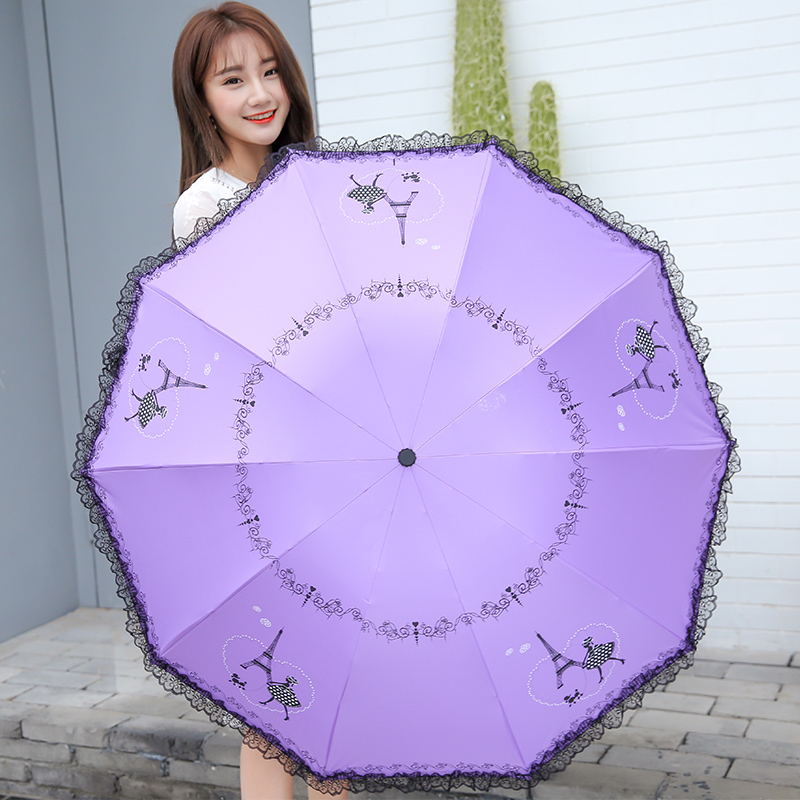 UV-protection lace sunshade parasol to double small fresh umbrlla for ladygirl