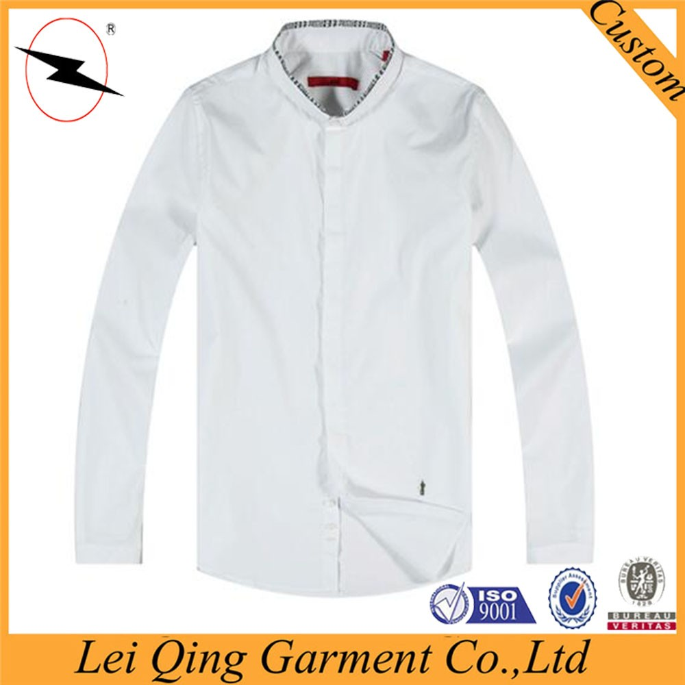 Customized Cotton High Quality Plain Stand Collar Color Men Shirt