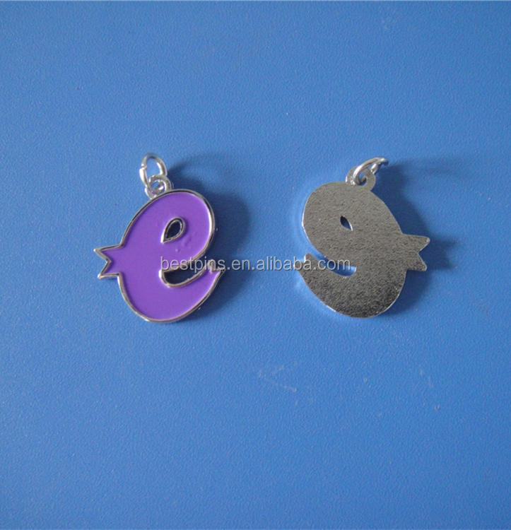 Purple Enamel Alphabet E Letter Shape Metal Charms for Necklace Bracelet
