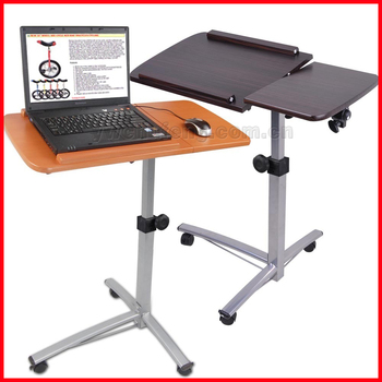Portable Rolling Laptop Desk Table W/ Split Top Hospital Bed Food Tray  Computer