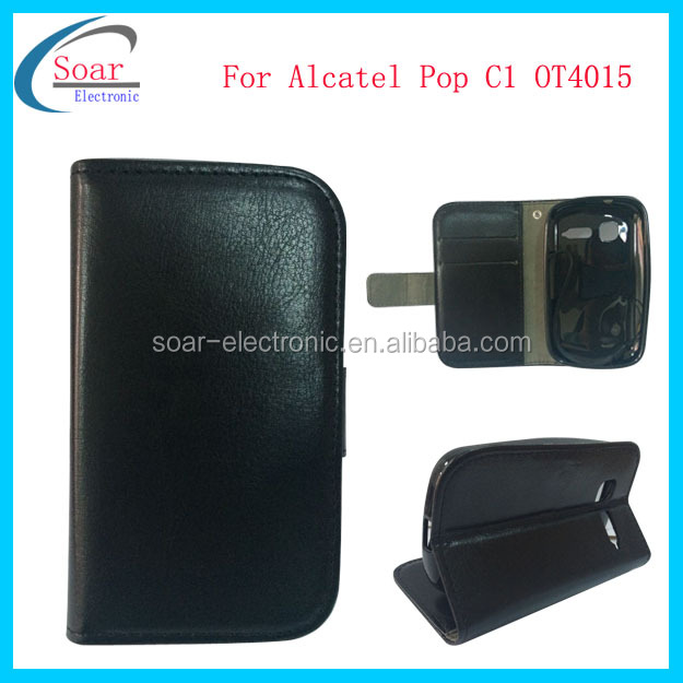 Pu Leather Flip Case Cover For Alcatel One Touch Pop C1