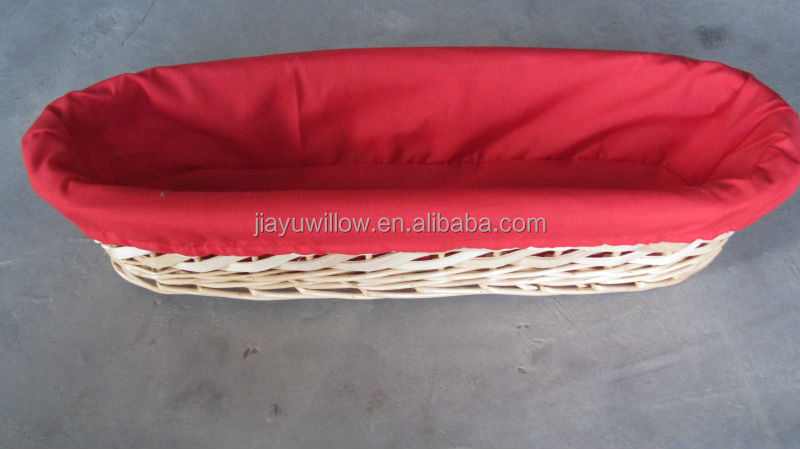handmade long french bread tray dry fruit decoration tray with red fabric