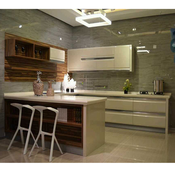 Pure white high glossy Kitchen Cabinets with Alum profile handles, View  White color kitchen cabinets, AMBLEM Product Details from Hangzhou Amblem  ...