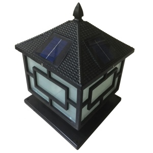 solar Waterproof Vintage Fence Post Garden stand Lamp light