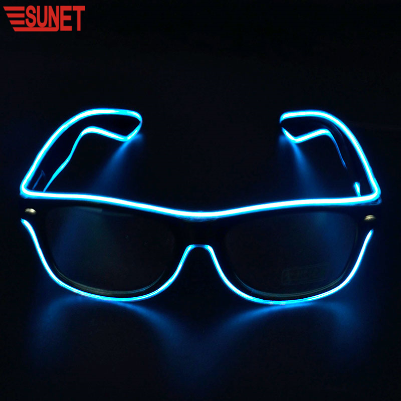 Men's Glasses The Cheapest Price Wholesale El Wire Flashing Light Up Shutter Glasses Shades Eyewear Party Concert Favor Jade White