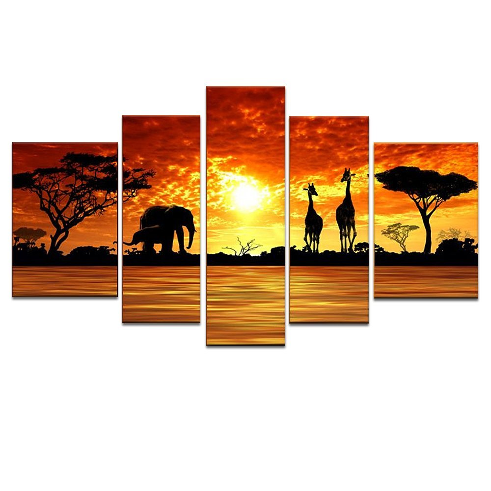 Canvas Wall Art,100% Hand-painted Oil Paints on Canvas ,Fancy Vast African Grassland Wild Animals in Sunset,Elephant and Giraffe,Landscape Canvas Home Decor,Framed amd Stretched,Ready to Hang on
