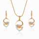 63989 xuping artificial bridal jewellery sets, heart gold jewellery zircon pendant sets in dubai