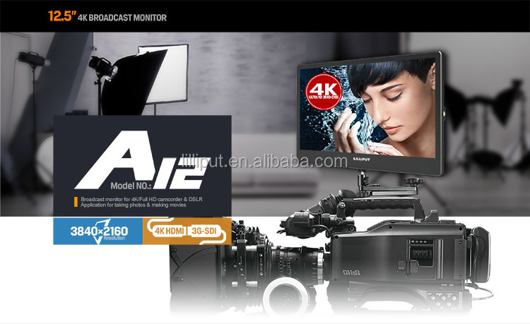 broadcast monitor video assist 12.5 inch  4K Full HD camcorder DSLR studio monitor camera top monitor